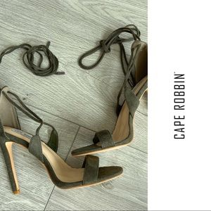 Cape Robbin - Sexy Olive Lace Up Sandles